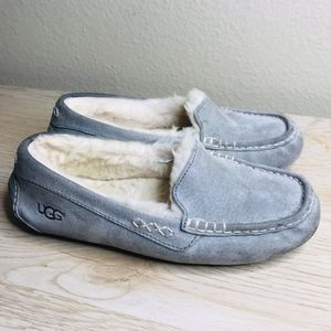 UGG GREY ANSLEY LINED MOCCASSIN SLIPPERS